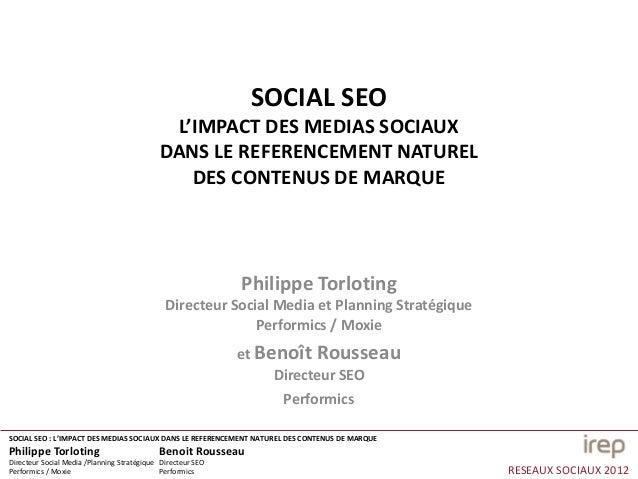 SOCIAL SEO                                             L'IMPACT DES MEDIAS SOCIAUX                                        ...