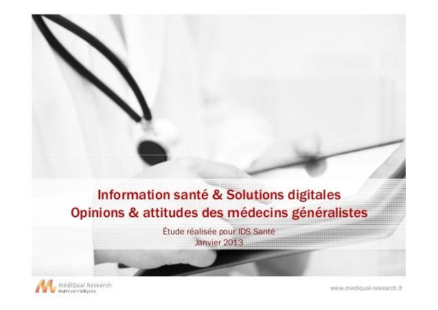 Information santé & Solutions digitales - MediQual Research - Janvier 2013