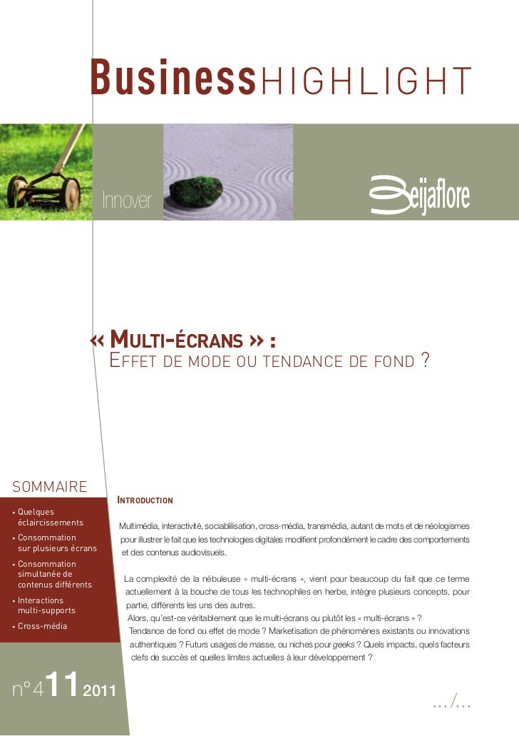 Business HIGHLIGHT                           Innover                       « MULTI-ÉCRANS » :                           EF...