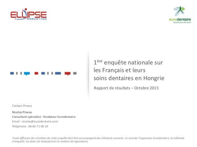 1ère enquête nationale sur les Français et leurs soins dentaires en Hongrie Rapport de résultats – Octobre 2015 Contact Pr...