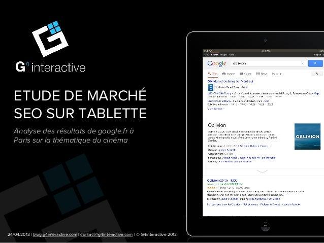 Etude de marché SEO dans le domaine du cinéma (iPad)