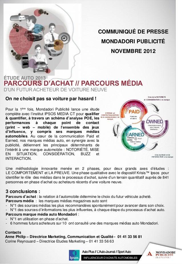 COMMUNIQUÉ DE PRESSE                                                               MONDADORI PUBLICITÉ                    ...
