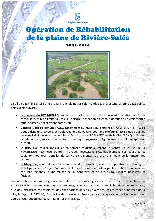 Opération de Réhabilitationde la plaine de Rivière-Salée2011-2014   La ville de RIVIÈRE-‐SALÉE s'inscri...