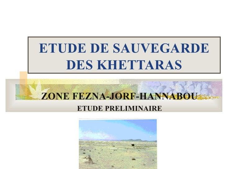 ETUDE DE SAUVEGARDE   DES KHETTARASZONE FEZNA-JORF-HANNABOU     ETUDE PRELIMINAIRE