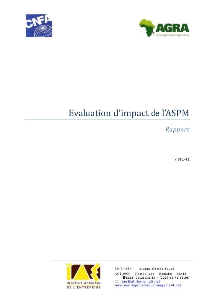 Evaluation d'impact de l'ASPM                                                    Rapport                                  ...