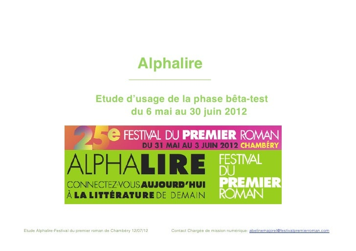 !      !       !       !      !       !      Alphalire           !           !                       Etude d'usage de la p...