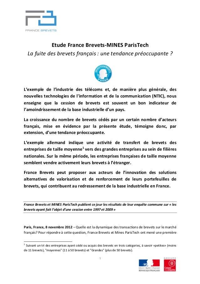 Etude france brevets mines paris tech