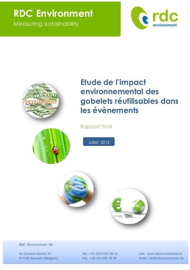 Etude de l'impact environnemental de gobelets réutilisables dans les évènements !