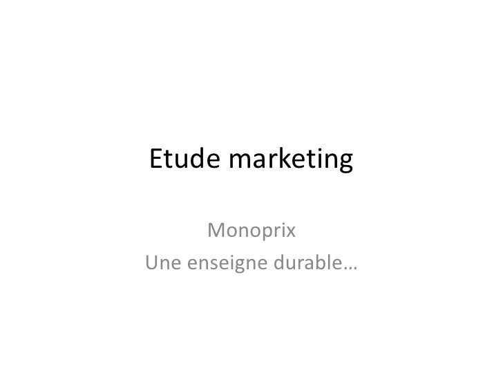 Etude Marketing