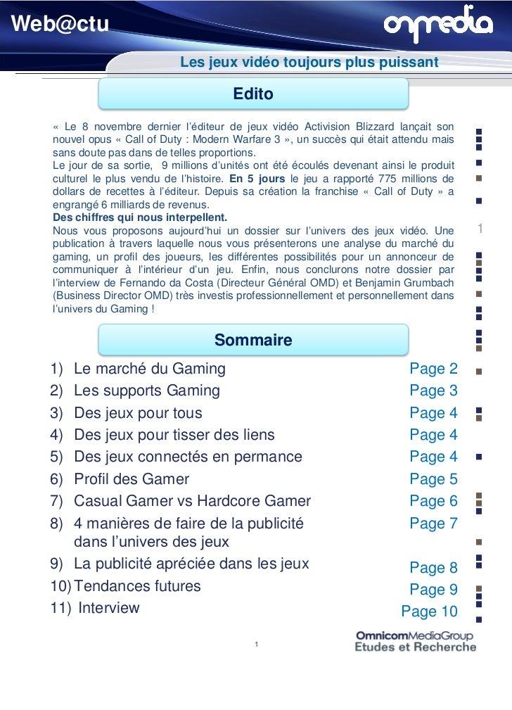 Web@ctu                            Les jeux vidéo toujours plus puissant                                       Edito  « Le...