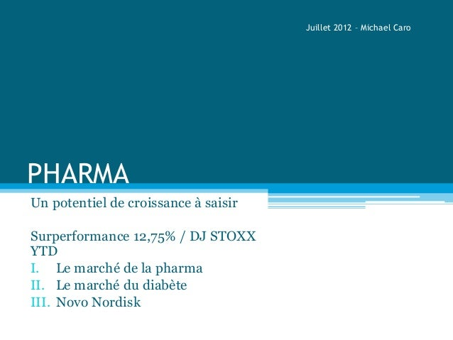 PHARMAUn potentiel de croissance à saisirSurperformance 12,75% / DJ STOXXYTDI. Le marché de la pharmaII. Le marché du diab...