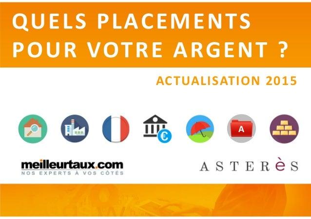 QUELS PLACEMENTS POUR VOTRE ARGENT ? ACTUALISATION 2015 A