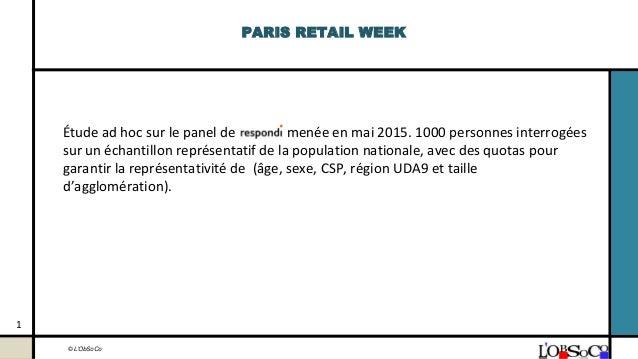 © L'ObSoCo PARIS RETAIL WEEK Étude ad hoc sur le panel de menée en mai 2015. 1000 personnes interrogées sur un échantillon...