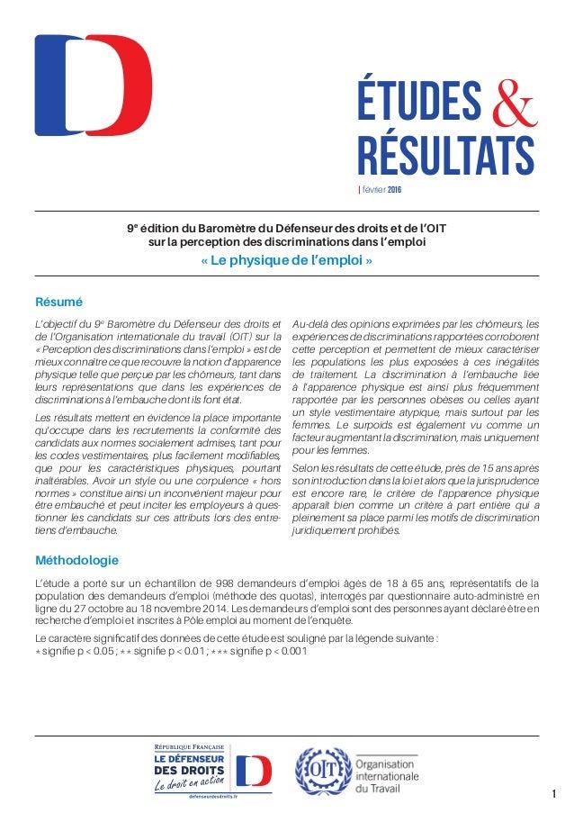 9e édition du Baromètre du Défenseur des droits et de l'OIT sur la perception des discriminations dans l'emploi «Le physi...
