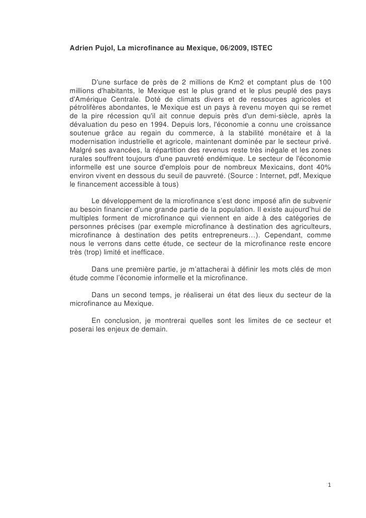 Adrien Pujol, La microfinance au Mexique, 06/2009, ISTEC            D'une surface de près de 2 millions de Km2 et comptant...