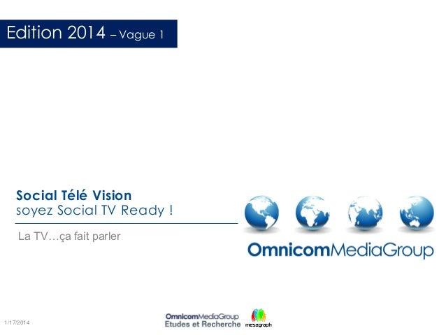 Social Télé Vision soyez Social TV Ready ! La TV…ça fait parler 1/17/2014 Edition 2014 – Vague 1