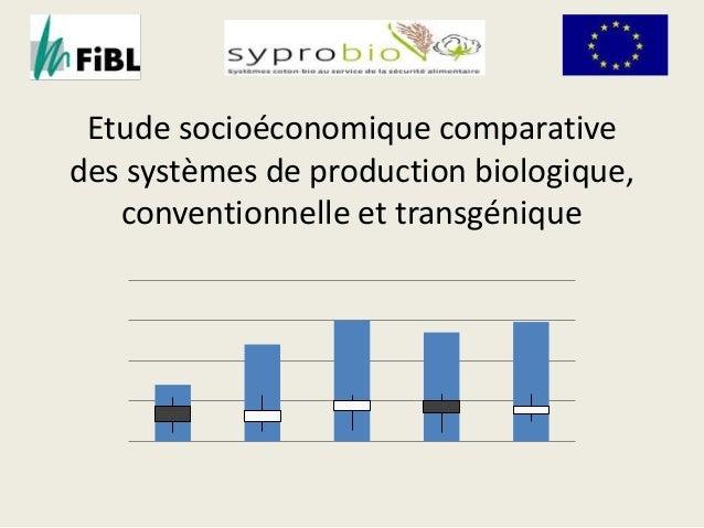 Etude socioéconomique comparative  des systèmes de production biologique,  conventionnelle et transgénique