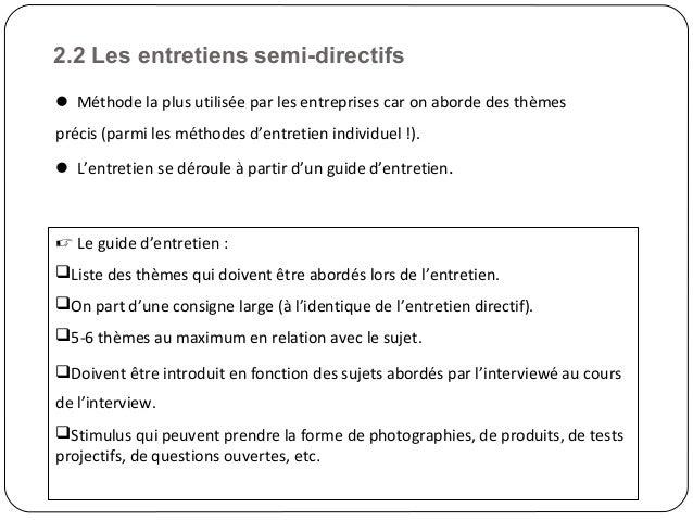 Etudes qualitatives vf1 - Entretien semi directif exemple de grille d entretien ...