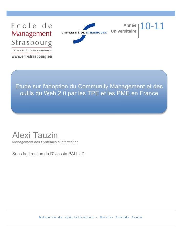 Etude sur l'adoption du Community Management par les TPE et PME en France