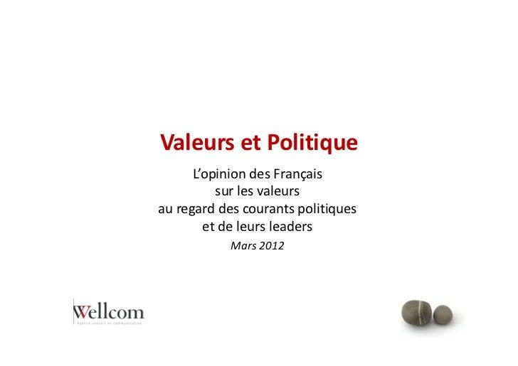 Valeurs et Politique      L'opinion des Français          sur les valeursau regard des courants politiques        et de le...