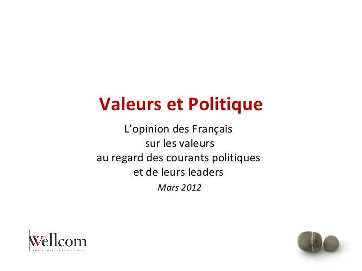 Valeurs et Politique     L'opinion des Français          sur les valeursau regard des courants politiques       et de leur...