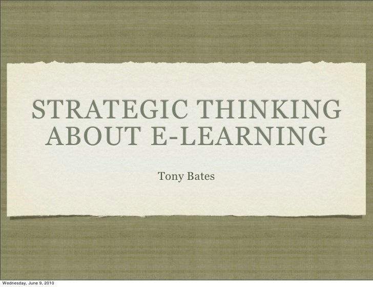 Strategic Thinking About eLearning