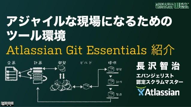 アジャイルな現場になるための ツール環境  Atlassian Git Essentials 紹介 長 沢 智 治 エバンジェリスト 認定スクラムマスター