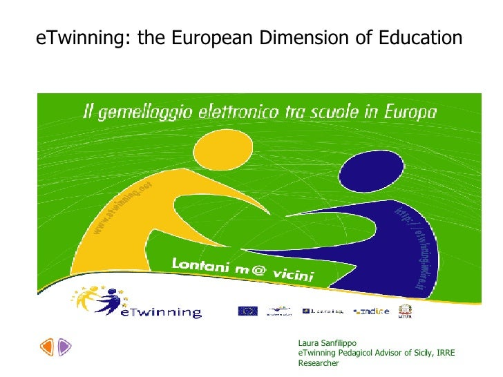 Laura Sanfilippo  eTwinning Pedagicol Advisor of Sicily, IRRE Researcher eTwinning: the European Dimension of Education