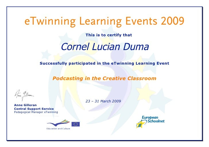 eTwinning Learning Events 2009                                      This is to certify that                               ...