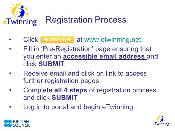 Registration Process <ul><li>Click    at  www.etwinning.net   </li></ul><ul><li>Fill in 'Pre-Registration' page ensuring t...