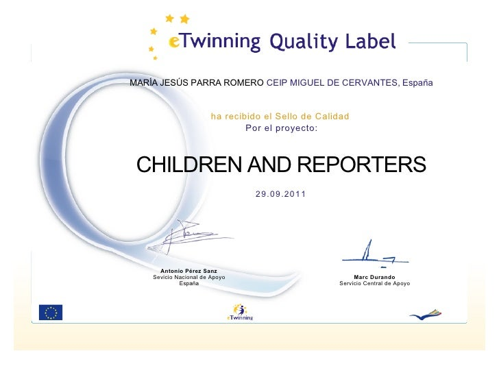 Quality Label: CHILDREN AND REPORTERS