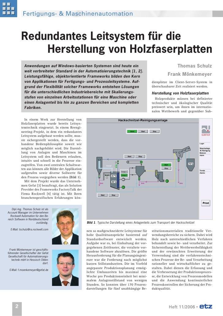 Fertigungs- & Maschinenautomation               Redundantes Leitsystem für die                 Herstellung von Holzfaserpl...