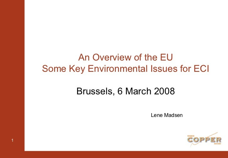 An Overview of the EU Some Key Environmental Issues for ECI Brussels, 6 March 2008 Lene Madsen