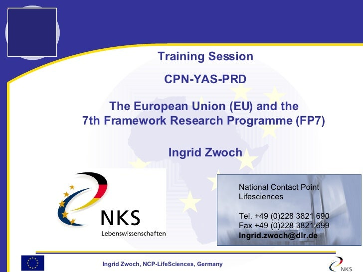 Training Session CPN-YAS-PRD The European Union (EU) and the  7th Framework Research Programme (FP7)   Ingrid Zwoch <ul><u...