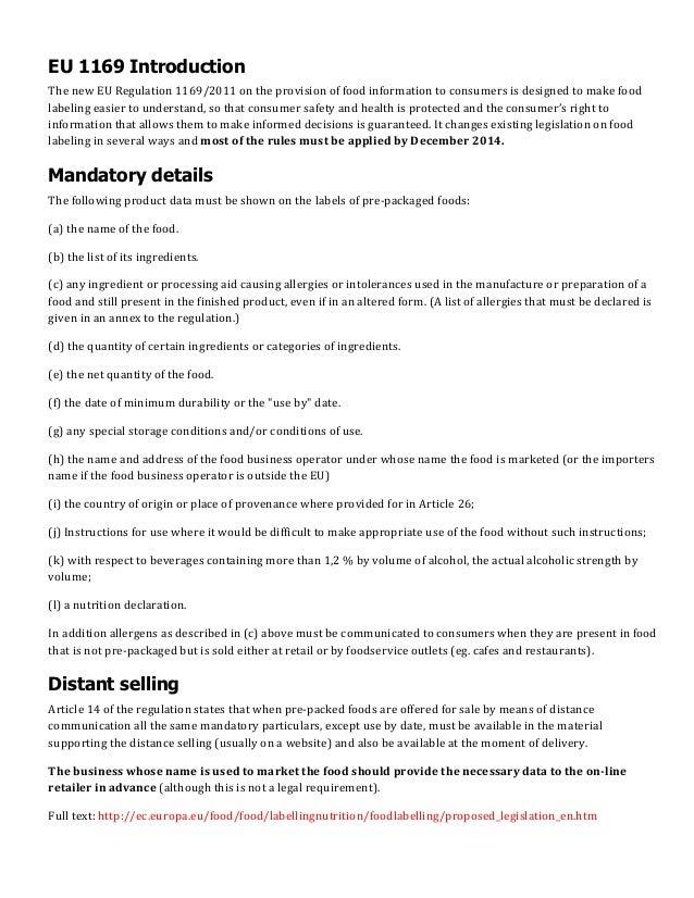 New EU Food Law: EU 1169/2011 primer