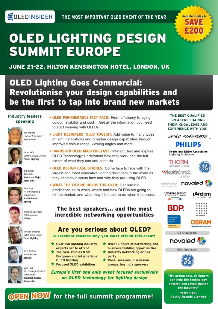 The mosT imporTanT oLeD evenT of The year                              register Today &                                   ...