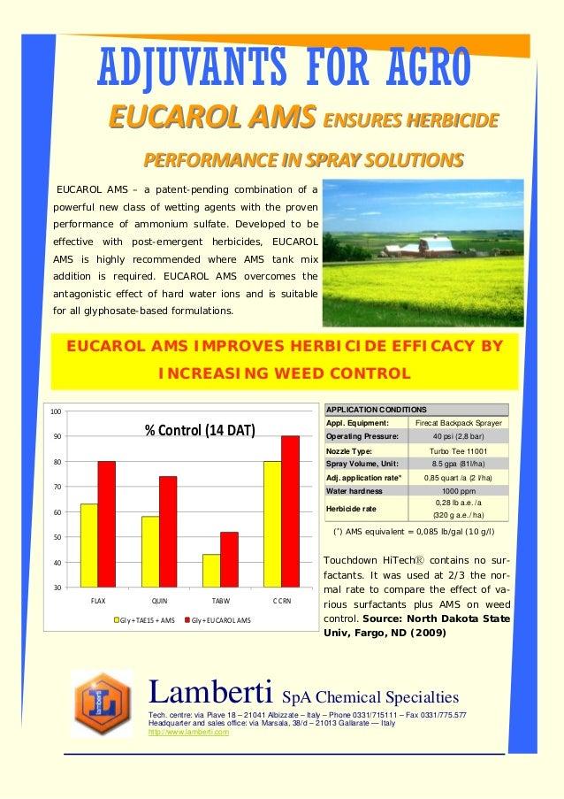 ADJUVANTS FOR AGRO Lamberti SpA Chemical Specialties Tech. centre: via Piave 18 – 21041 Albizzate – Italy – Phone 0331/715...
