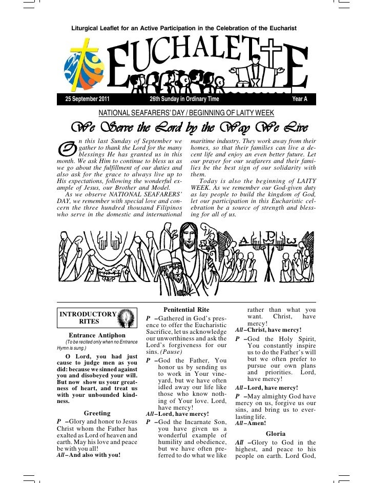 Liturgical Leaflet for an Active Participation in the Celebration of the Eucharist    25 September 2011                   ...