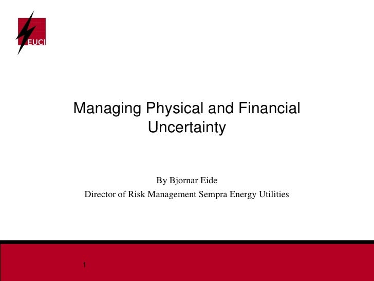 Managing Physical and Financial          Uncertainty                      By Bjornar Eide  Director of Risk Management Sem...