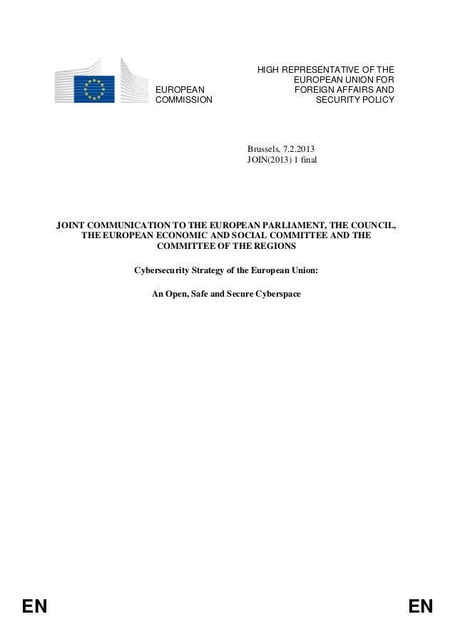 HIGH REPRESENTATIVE OF THE                                                       EUROPEAN UNION FOR                       ...