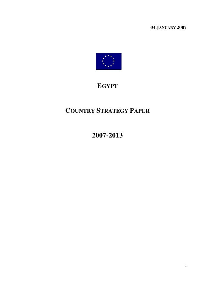 04 JANUARY 2007             EGYPT   COUNTRY STRATEGY PAPER         2007-2013                                            1