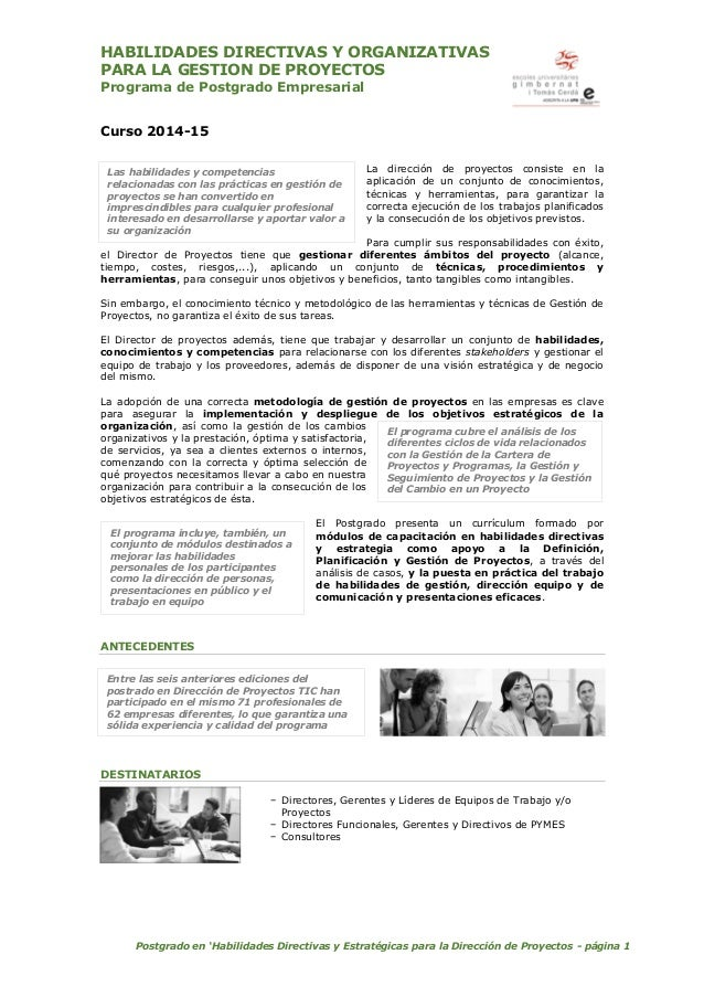 PHADEDP - Postgrado en Habilidades Directivas y Estrategia para Directores de Proyectos - EUG - 201415