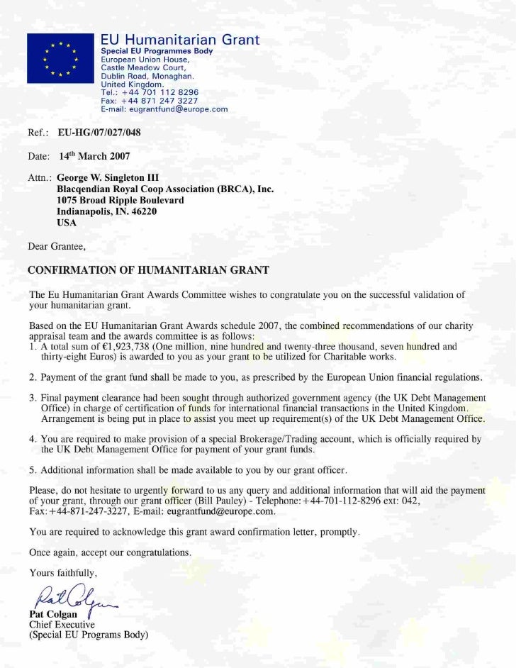 Page 1 of 2      Subj:       EU Grant Update  Date:       3/15/2007 11:11:20 P.M. Eastern Standard Time  From:       eugra...