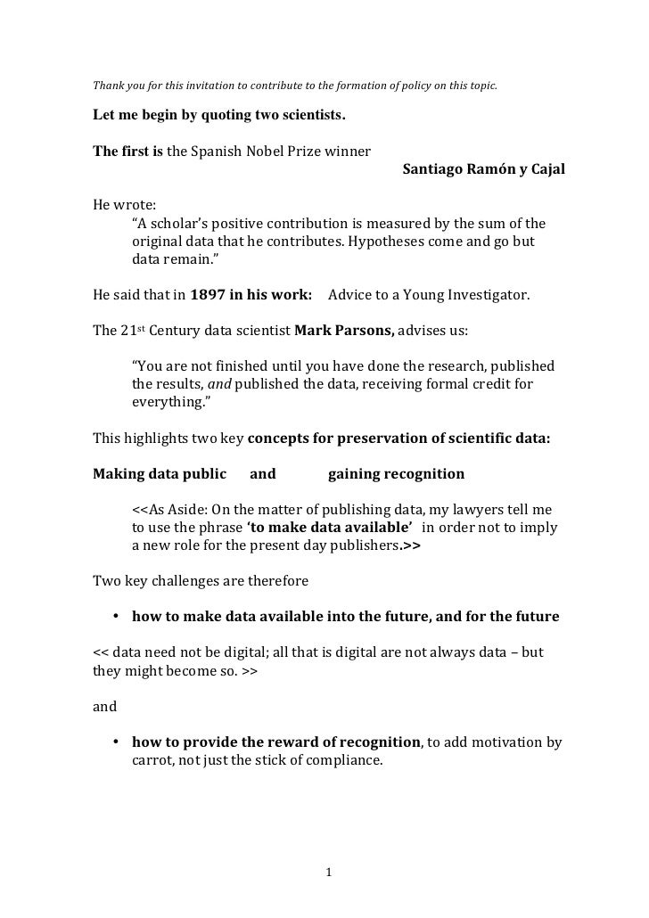Recommendation to the EU Hearing on Access to and Preservation of Scientific Information