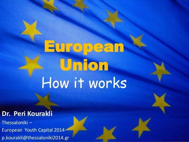 European Union  How it works Dr. Peri Kourakli Thessaloniki – European Youth Capital 2014 p.kourakli@thessaloniki2014.gr