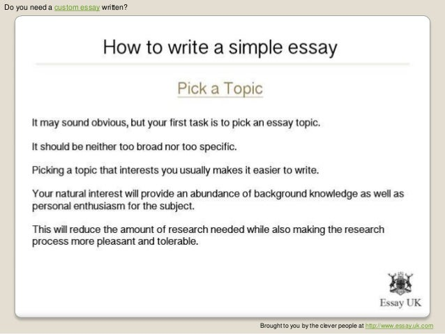 Writing A Simple Essay