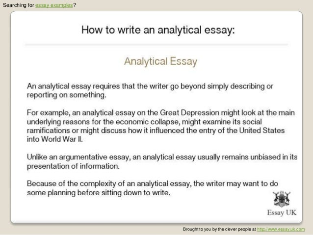 persuasive analytical essay Analytical essay is a kind of an essay which focuses on the detailed interpretation or examination of a certain subject such as a book, an event, or any work of art.
