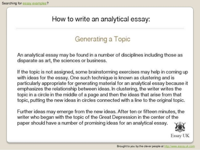 Example Analytical Essay Samples