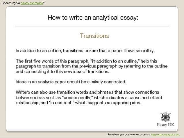 how to write a analytical essay To write an analytical essay, first write an introduction that gives your reader background information and introduces your thesis then, write body paragraphs in support of your thesis that.