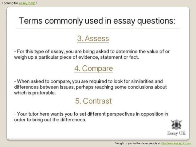 Terms used in essay instuctions